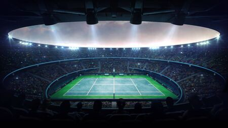 Illuminated blue tennis court stadium with fans at evening upper side view, professional tennis sport 3D illustration background