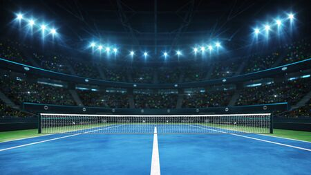 Blue tennis court and illuminated indoor arena with fans, player front view, professional tennis sport 3d illustration background