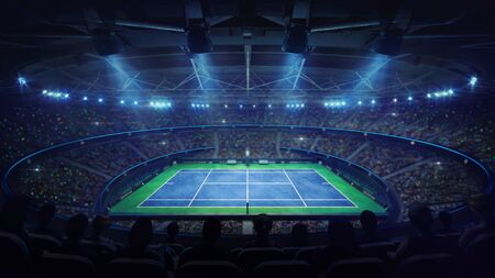 Modern tennis arena illuminated by spotlights, blue court and fans, upper side view, professional tennis sport 3d illustration background Stok Fotoğraf