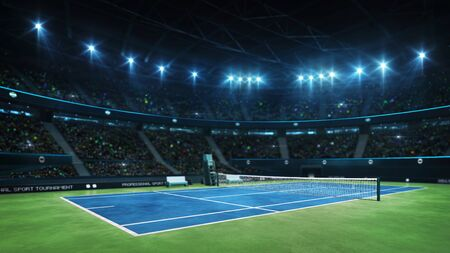 Blue tennis court and illuminated indoor arena with fans, court view, professional tennis sport 3d illustration background Stockfoto - 129902566