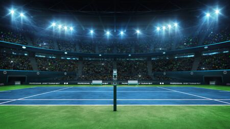 Blue tennis court and illuminated indoor arena with fans, referee side view, professional tennis sport 3d illustration background Stok Fotoğraf
