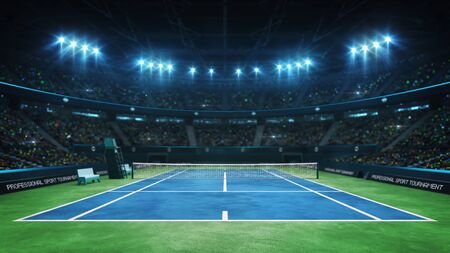 Court de tennis bleu et arène intérieure illuminée avec ventilateurs, vue de face supérieure, arrière-plan d'illustration 3d de sport de tennis professionnel Banque d'images