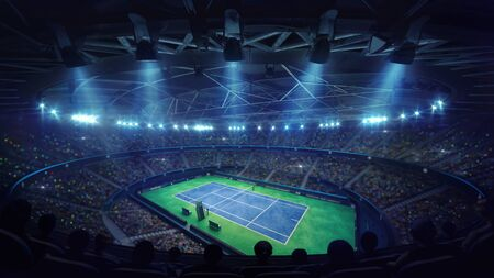 Modern tennis arena illuminated by spotlights, blue court and fans, upper perspective view, professional tennis sport 3d illustration background Stockfoto - 129902600