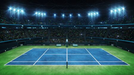 Blue tennis court and illuminated indoor arena with fans, upper side view, professional tennis sport 3d illustration background Фото со стока