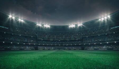 Campo de césped verde vacío y estadio al aire libre encendido con ventiladores, vista frontal del patio, campo de césped edificio deportivo Ilustración de fondo profesional 3D