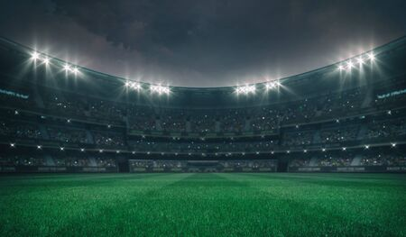 Empty green grass field and alight outdoor stadium with fans, front playground view, grassy field sport building 3D professional background illustration Banque d'images - 129895873