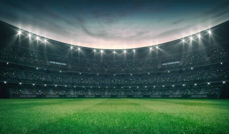 Empty green grass field and illuminated outdoor stadium with fans, front field view, grassy field sport building 3D professional background illustration Stockfoto - 129895874