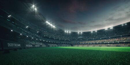 Stadium lights and empty green grass field with fans around, perspective playground view, grassy field sport building 3D professional background illustration Фото со стока