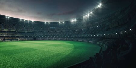 Stadium lights and empty green grass field with fans around, perspective tribune view, grassy field sport building 3D professional background illustration Stockfoto - 129895875