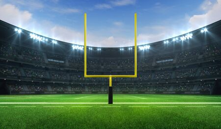 American football league stadium with yellow goalpost front and fans, frontal field view, sport building 3D professional background illustration Stockfoto - 129895878