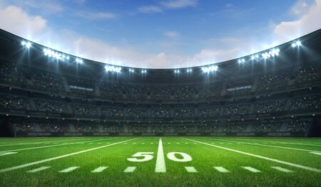 American football league stadium with white lines and fans, daytime side field view, sport building 3D professional background illustration Stockfoto - 129895880