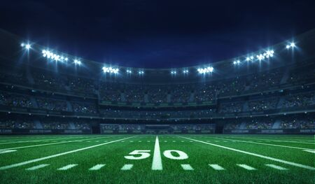 American football league stadium with white lines and fans, illuminated field side view at night, sport building 3D professional background illustration Stockfoto - 129895879