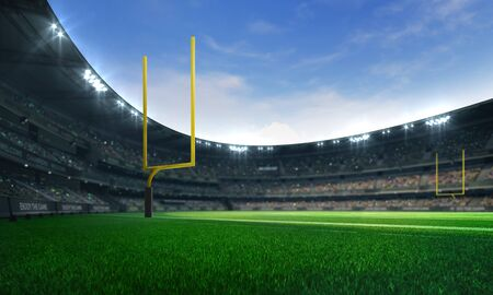 American football league stadium with yellow goalposts and fans, daytime field view, sport building 3D professional background illustration Фото со стока