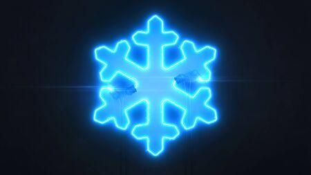 Neon blue star shape on dark background, light glowing shape design 3D illustration Stockfoto - 132368721