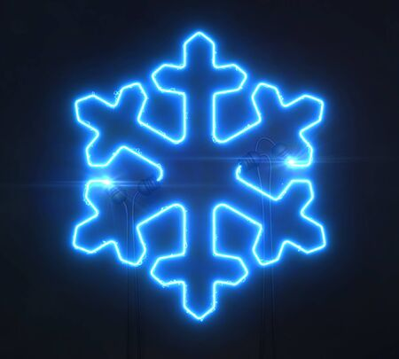 Neon blue star on dark background, light glowing shape design 3D illustration Stockfoto - 131894778