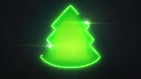 Forme d'arbre vert néon sur fond sombre, illustration 3D de conception de forme lumineuse