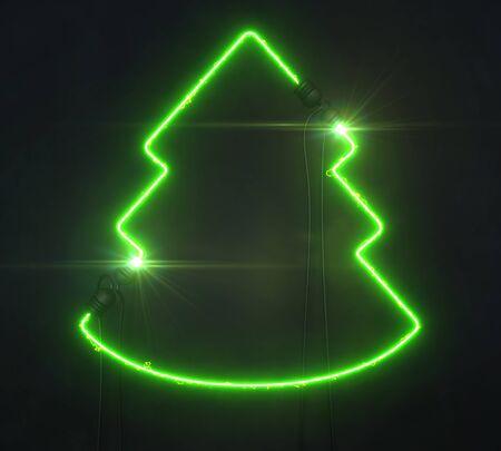 Neon green tree on dark background, light glowing shape design 3D illustration Stockfoto - 131894443