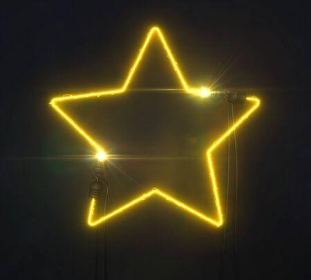 Neon yellow star on dark background, light glowing shape design 3D illustration Stockfoto - 132368720