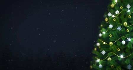Decorated Christmas tree in winter snowy forest at night snowfall, right side closeup, christmas holiday 3D illustration background Stockfoto - 132368722
