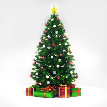 Decorated xmas tree isolated on white, general front view, christmas holiday 3D illustration background Stockfoto