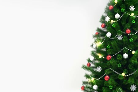 Decorated xmas tree isolated on white, right side closeup, christmas holiday 3D illustration background Stockfoto - 132368729