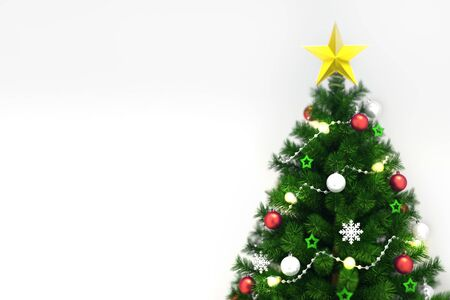 Decorated xmas tree isolated on white, top closeup view, christmas holiday 3D illustration background Stockfoto - 132368728