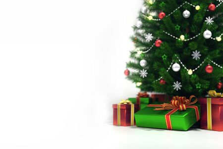 Decorated xmas tree isolated on white, top closeup view, christmas holiday 3D illustration background Stockfoto - 132368727