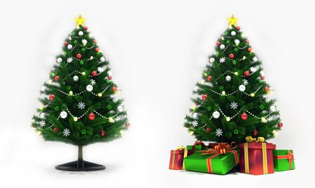 Decorated xmas trees isolated on white, front view, christmas holiday 3D illustration background