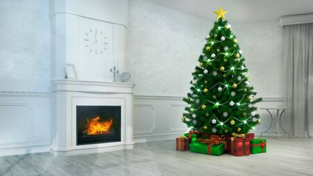Fireplace interior with decorated christmas tree at daylight angle view, holiday 3D illustration Stockfoto - 134345853