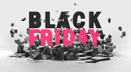 Black friday advertisement 3D headline above ground fracture, voucher design element illustration Stockfoto - 134345883