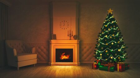 Burning fireplace with lit Christmas tree in dark interior scene, winter holiday 3D background illustration Stockfoto - 134345909