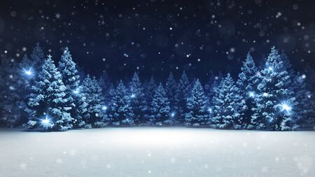 Snow covered winter forest under stormy snowfall and dark sky, seasonal 3D illustration and copy space background Stockfoto - 134345914