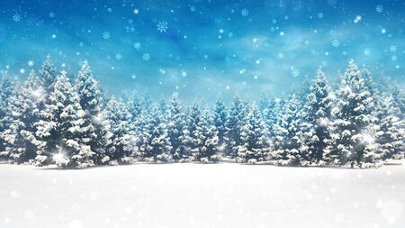 Snow covered winter forest under stormy snowfall and blue sky, seasonal 3D illustration and copy space background Stockfoto - 134345925