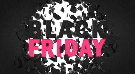 Black friday advertisement 3D headline in front of wall fracture, voucher design element illustration Stockfoto - 134345958