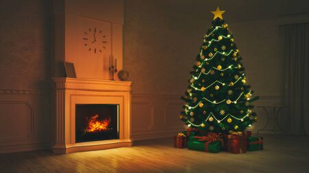 Burning fireplace with lit Christmas tree in night interior scene, winter holiday 3D background illustration