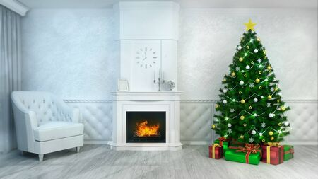 Fireplace interior with decorated christmas tree at daylight front view, holiday 3D illustration Stockfoto - 134346105