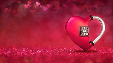 Red heart as padlock concept on glamour bright bokeh background. Love concept 3D illustration. Stockfoto - 139106396