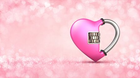 Pink heart as padlock concept on glamour bright bokeh background. Love concept 3D illustration. Stockfoto - 140769561