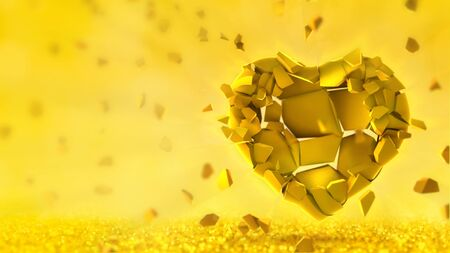 Broken golden heart into many flying pieces on bright yellow background. Love emotion 3D illustration. Stockfoto - 139106529