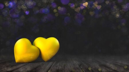 Two golden hearts on wooden deck with yellow purple bokeh effect on dark background. Love emotion 3D illustration. Stockfoto - 139106468