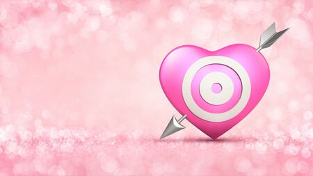 Pink heart with target and metallic arrow concept on glamour bright bokeh background. Love concept 3D illustration. Stockfoto - 139106449