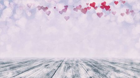 Wooden bright blue deck with blurred bokeh and red hearts in the air. Love background 3D illustration. Stockfoto - 139105775
