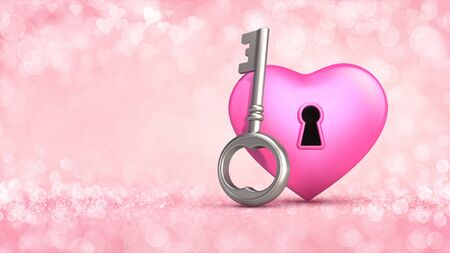 Pink heart with access key concept on glamour bright bokeh background. Love concept 3D illustration. Stockfoto - 139106176