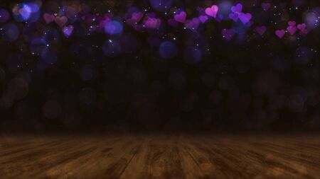 Wooden dark brown deck with blurred bokeh and purple hearts in the air. Love background 3D illustration. Stockfoto - 140769560