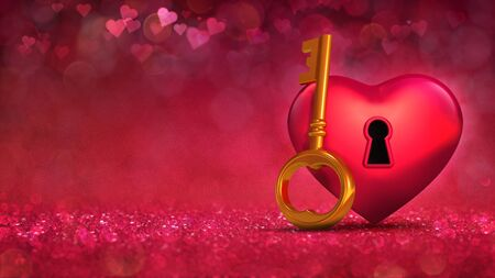 Red heart with access key concept on glamour bright bokeh background. Love concept 3D illustration. Stockfoto - 139106430