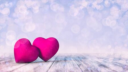 Two pink hearts on wooden deck with bright bokeh effect on light blue background. Love emotion 3D illustration. Stockfoto - 139125645