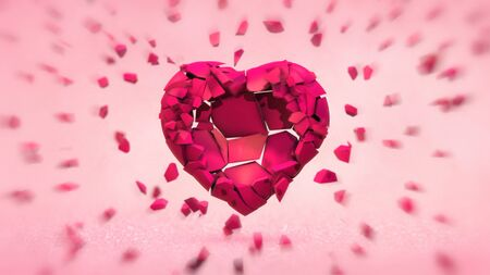 Broken pink heart into many flying pieces on brigh light background. Love emotion 3D illustration. Stockfoto - 140769562
