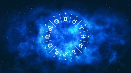 Blue astrological wheel with zodiac symbols and night starry sky. Horoscope background digital illustration.