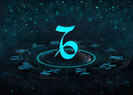 Zodiac Capricorn symbol above astrological wheel and bokeh at dark. Horoscope sign 3D illustration background.