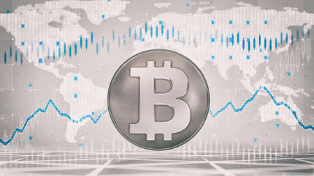 Silver Bitcoin coin with economic graph charts and business analysis on grey background. Business and economy 3D illustration.